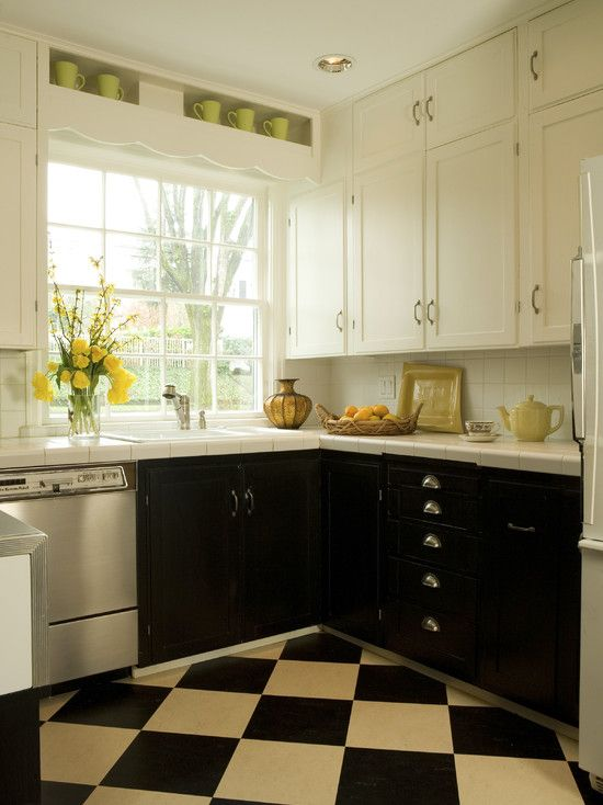 Cabinets, Black and white tiles and Decor on Pinterest