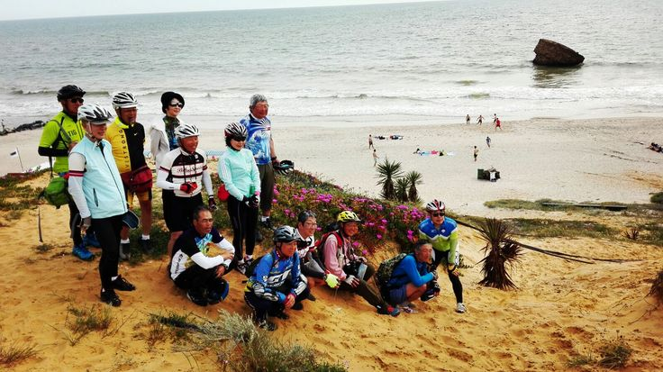 Group photo at the beach, Andalucia Cycling