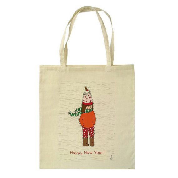 Cute New Year Girl Tote Bag by HappyMarker on Etsy