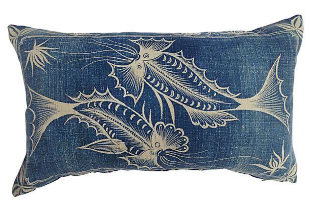 Indigo Batik Pillow w /Fish