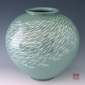 Korean Celadon Glaze Inlaid White Fish Design