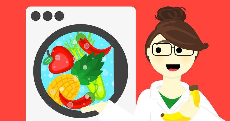 Laver, fruits, légumes, laveuse, banane, ananas, pomme, piments, céleri, La fooodie scientifique