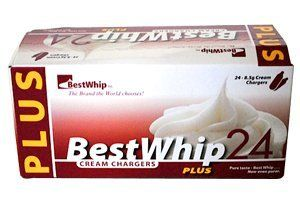 600 BEST WHIP PLUS N2O - 25 boxes of 24 chargers - 600 total by BestWhip. $199.95. BestWhip PLUS chargers are simply the BEST ... purest, cleanest whipped cream chargers you can buy!. We are proud to introduce this brand new PREMIUM QUALITY product, manufactured using the latest technology in the industry.. Standard 8g size fits all cream whippers on the market. New  Amazing  Quality!  The purest food-grade product in the industry!. FAST Shipping...only  2-3 days  t...