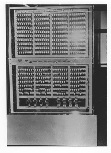Z3: electromechanical computer by Konrad Zuse. World's first working programmable, fully automatic digital computer. Built with 2000 relays, implementing a 22-bit words. Clock frequency of about 5–10 Hz. Program code and data were stored on punched film.  Original Z3 was destroyed in 1943. Replica was built in the 1960s by Zuse KG, and is on permanent display in the Deutsches Museum. The Z3 was Turing-complete.  Konrad Zuse is often regarded as the inventor of the computer.