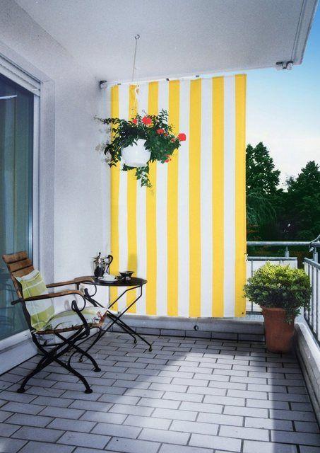 Balkonsichtschutz , BxH 140x230 cm, gelb/weiß