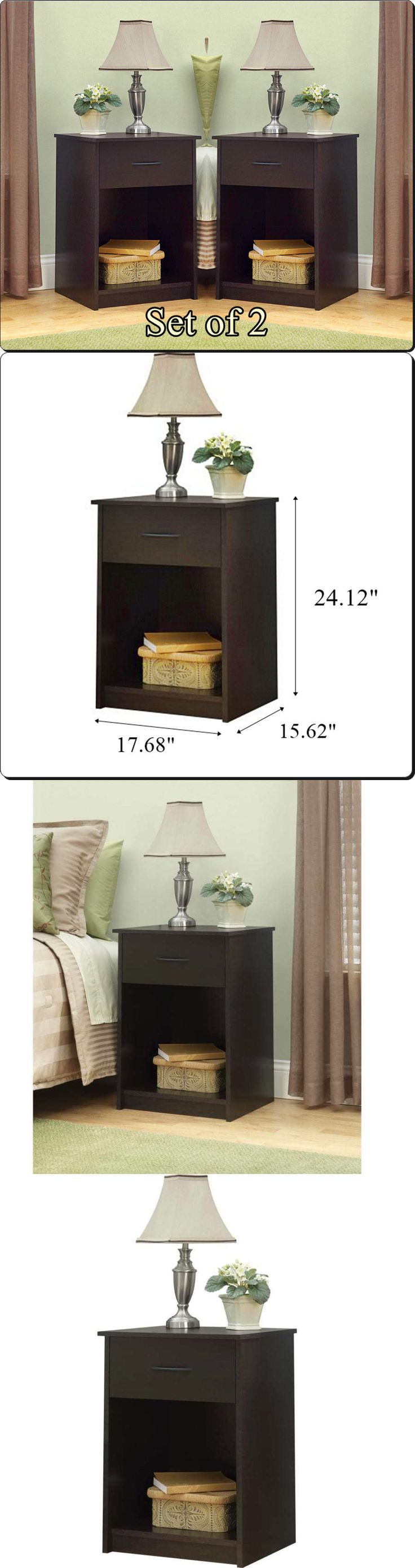 Nightstands 38199: Nightstand End Table One Drawer Shelf Cherry Set Of 2 Bedroom Furniture Sleek In -> BUY IT NOW ONLY: $80.16 on eBay!