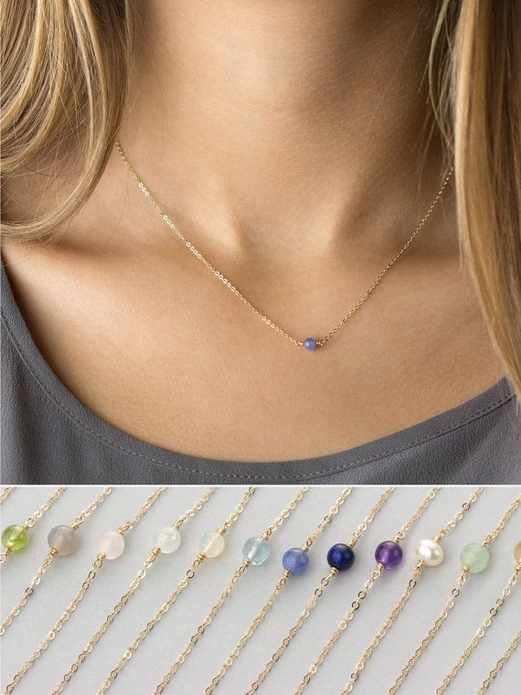 Simple Birthstone Necklace, Dainty Gemstone Choker or Layering Necklace / 14k Gold Filled, Rose Gold or Sterling Silver, by Layered and Long