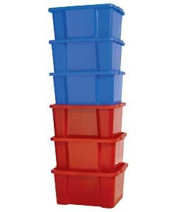 Keter 30L Plastic Pack 6 Stack and Nest Boxes-Blue and Red.