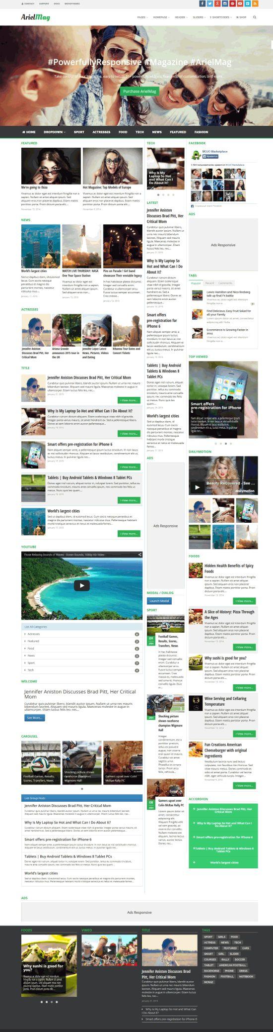 ArielMag v1.1.3 – адаптивный журнальный шаблон для WordPress