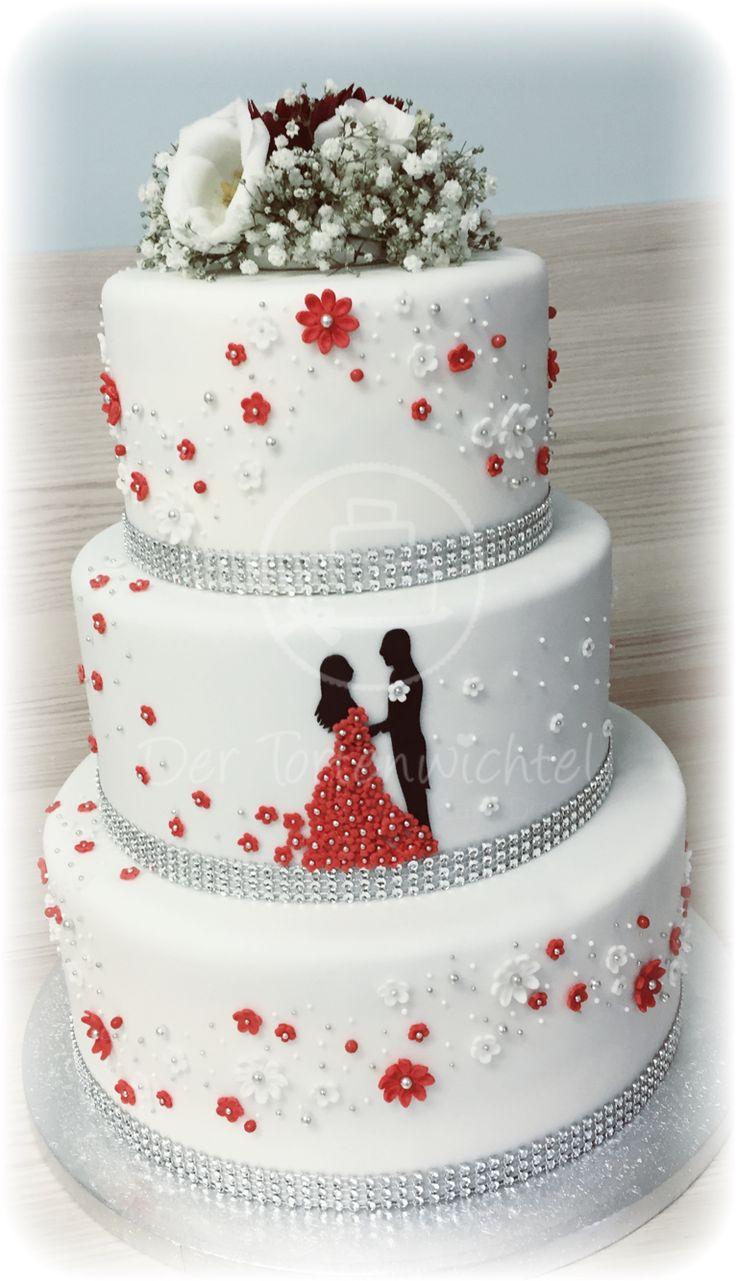 Rot-weiße Hochzeitstorte