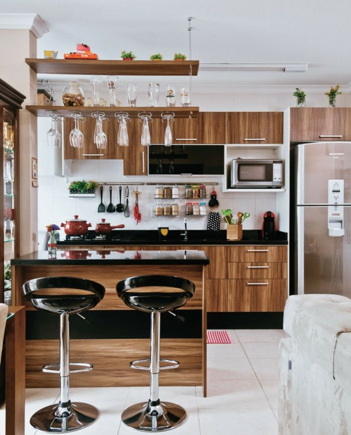 moderne Küche aus Holz mit kleiner Insel | Wohnen | Offene küche ...