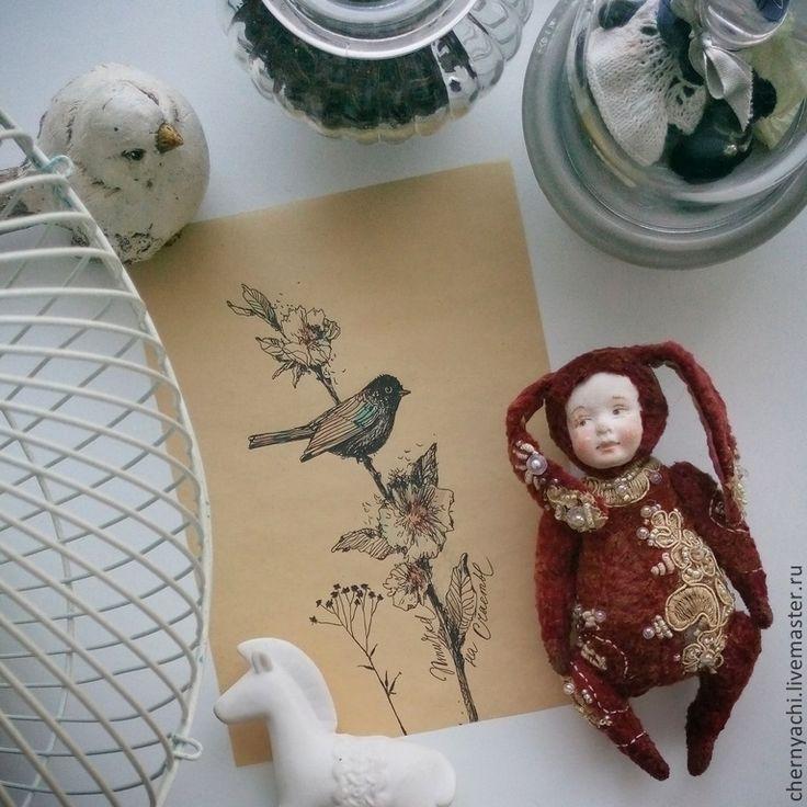 ляля - бордовый,заяц,зайчик,тедди-долл,плюш,Паперклей,опилки древесные