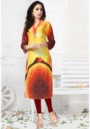 DESIGNER PURE GEORGETT DIGITAL PRINT YELLOW KURTIS