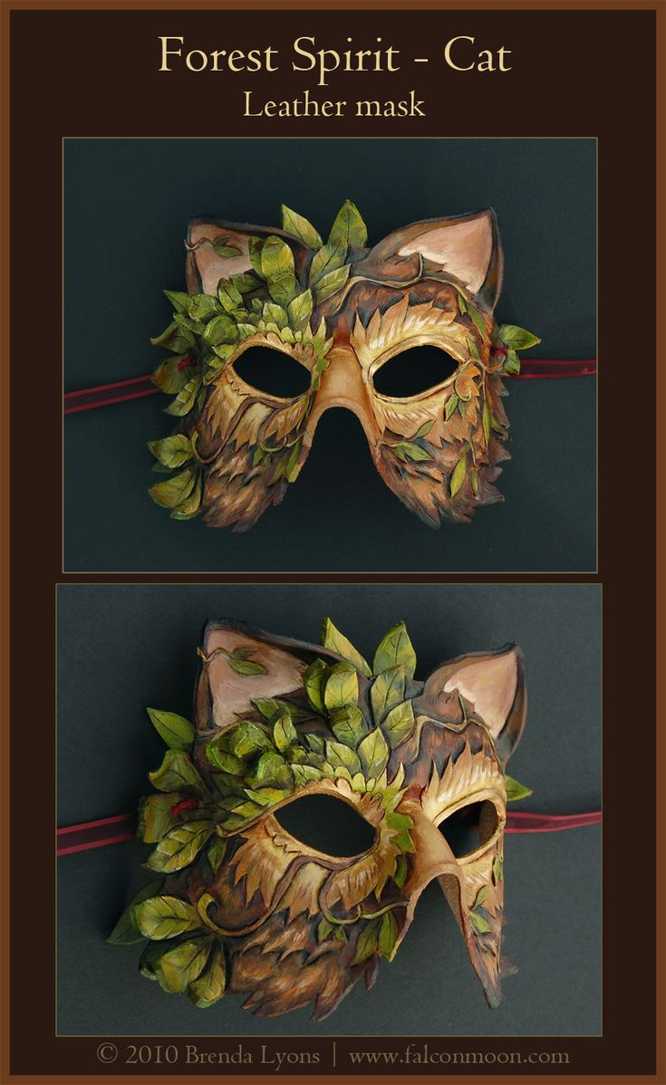 Forest Spirit Cat-Leather Mask by *windfalcon on deviantART