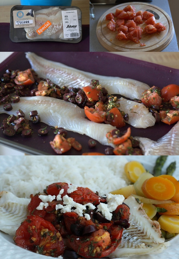 Mmm...is for Mommy: Roasted Haddock with Tomatoes & Olives