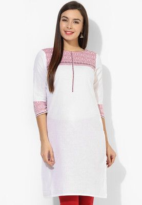 White Printed Kurti Flaunt a no-fuss look when you wear this kurtafrom the house of Aurelia. Designed to absolute perfection, this 100% cotton kurtawill be soft against your skin and keep you at ease. Team it with contrasting churidar and Kolhapuris to complete your look for the day. http://jbo.ng/F2phelV