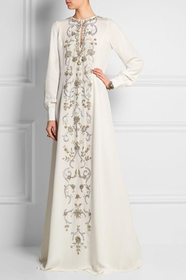 Oscar de la Renta | Embroidered silk crepe de chine gown | I FOUND THE PERFECT WEDDING DRESS
