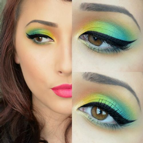 Beautiful bright makeup look.