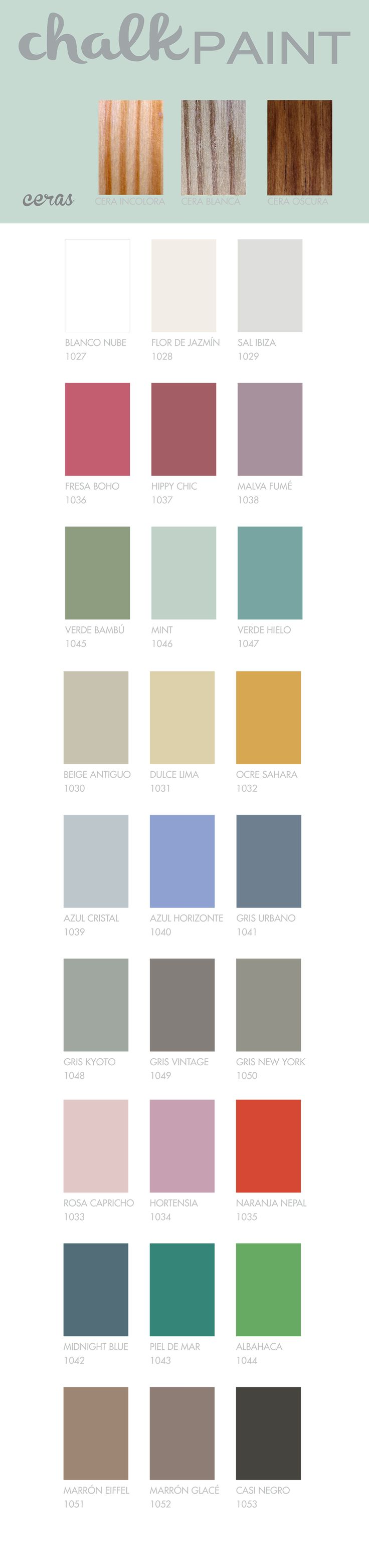 carta de colores chalk paint la pajarita