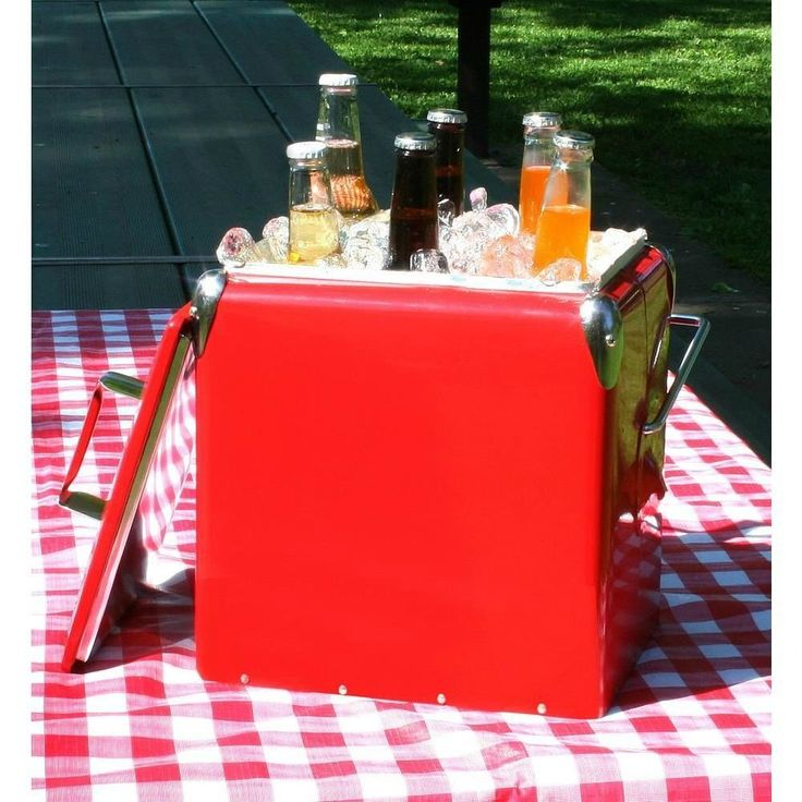 Retro Vintage Style Picnic Cooler Red Metal Old Fashioned Ice Chest Beverage NEW #AmeriHome