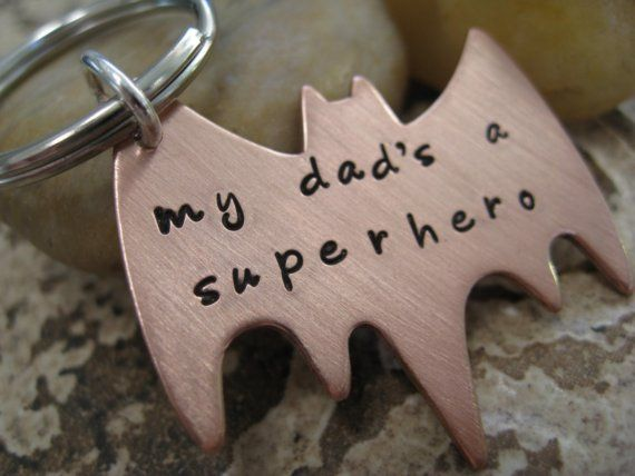 dad: Copper Superhero, Superhero Keychain, Hand Stamped, Stamped Copper, My Dad, Dads, Father
