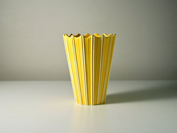 Yellow Sylvac vase. Raphique vintage striped by AnEyeOnStyle