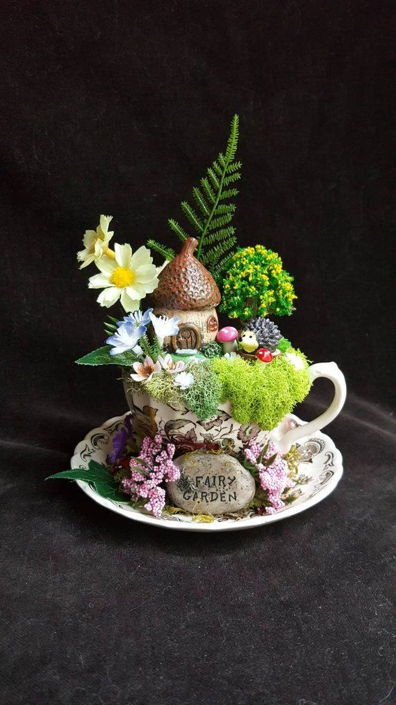 Teacup Fairy Garden, Custom and Made to Order, Unique Gift Idea, Daisies and Purple Flowers, Real Moss.**ACORN HOUSE DISCONTINUED