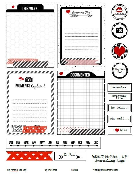 Free Whimsical II Project Life Journaling Cards