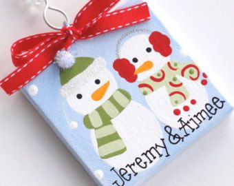 3x3 Canvas Christmas Ornament Personalized by threedoodlebugs
