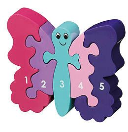 jigsaw wooden butterfly 1-5 by little butterfly toys | notonthehighstreet.com