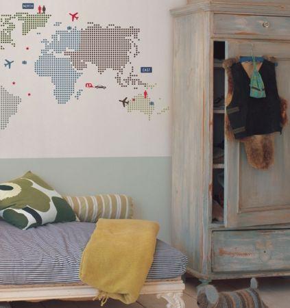 Kidslab muursticker wereldkaart world map