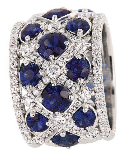 Jack Kelege Platinum Sapphire and Diamond Band Ring