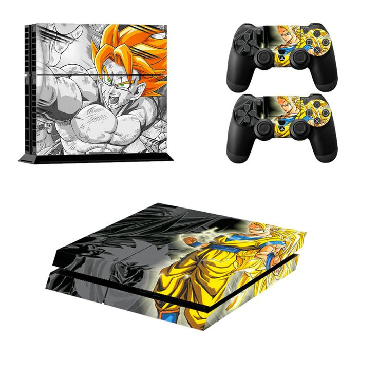 FREE SHIPPING! PS4 Dragon Ball Z Son Goku Decal Stickers For Sony Playstation 4 Console  2 controllers