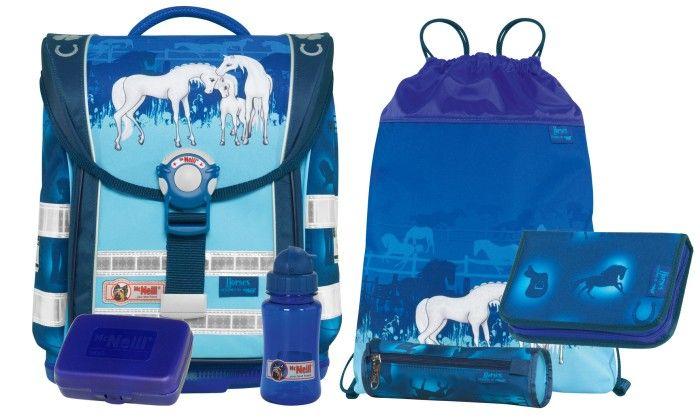 McNeill Ergo Light Compact Horses Set 6 tlg - McNeill Schulranzen Horses 2014 Kollektion + Gratis Pelikan Deckfarbkasten