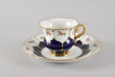 e02c35- Meissen Porzellan Tasse mit Unterteller, Pfeiffer-Marke