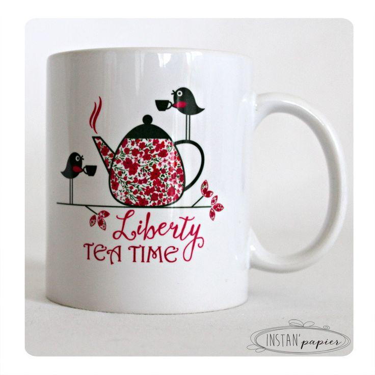 mug pr nom personnaliser liberty tea time th i re en liberty et 2 oiseaux qui font la. Black Bedroom Furniture Sets. Home Design Ideas