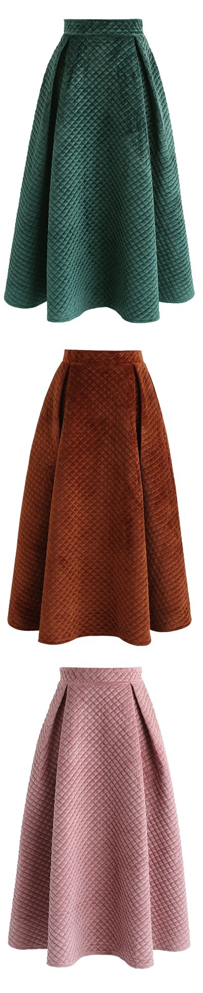 Fancy Sheen Quilted Velvet Skirt in Green/Caramel/Pink