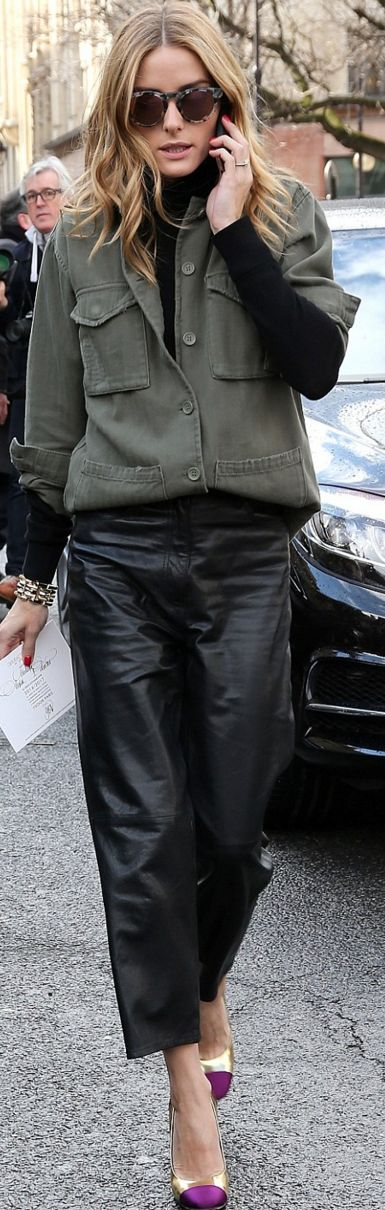 Who made  Olivia Palermo's purple cap toe pumps, green military shirt, black leather pants, and sunglasses?