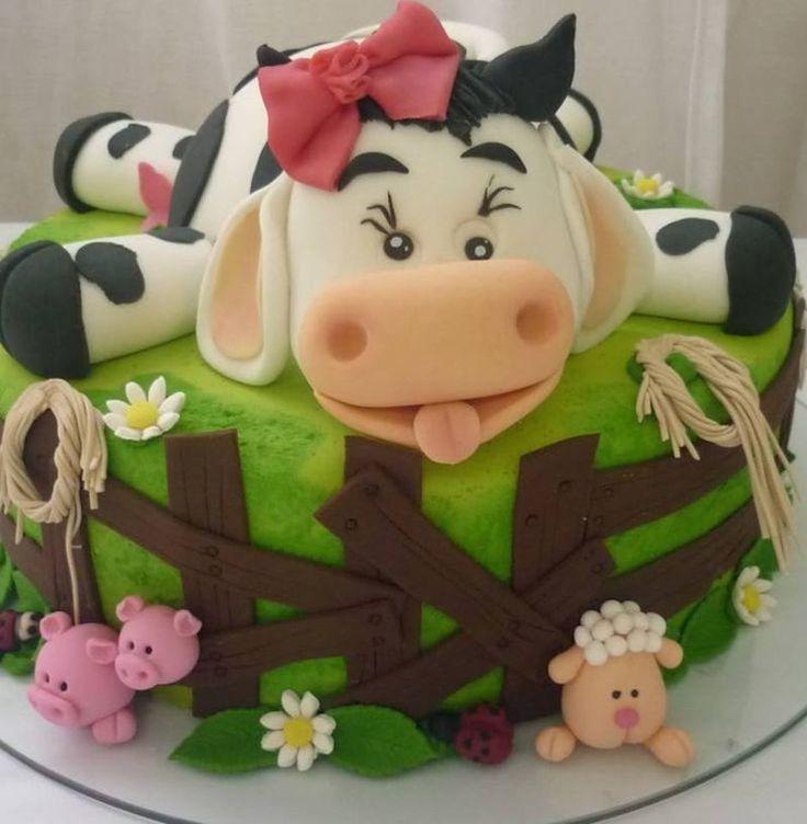 Festa infantil tema fazendinha, bolo vaca