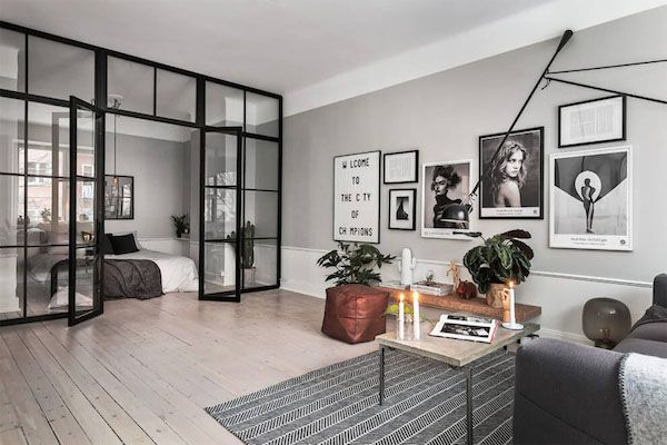 A Scandinavian home with grey walls & an industrial touch