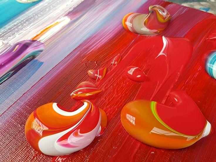 Indi's Dream - 180 x 100 x 4,5 | 1. Schilderijen: KLEUR -bont | Galerie Taupe STUDIO 's-Hertogenbosch. Detail van groot abstract kleurrijk schilderij met zeer dikke verfstructuur / verfklodders in rood, geel, oranje.