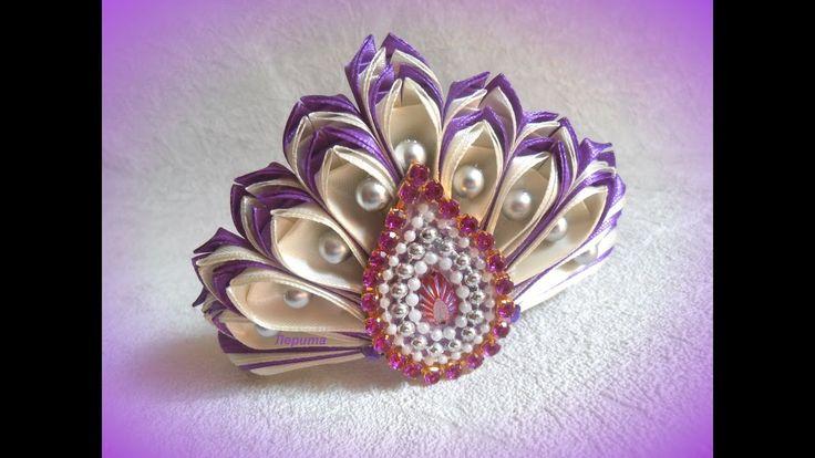 Новогодняя корона канзаши, диадема из ленты 2,5 см, мастер класс Лерита