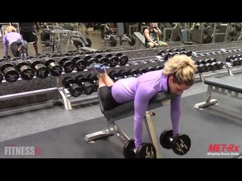 Incline Dumbbell Row   FitnessRX for Women Nicole shares a unique twist on a classic exercise--the INCLINE DUMBBELL ROW. This exercises stabilizes your core for maximum isolation of the targeted muscles--the upper back and rear deltoids