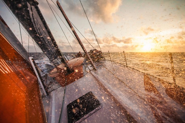 April 21, 2015. Leg 6 to Newport onboard Team Alvimedica. Day 02. The drag race east continues as the fleet tries to outrun a cold front coming from the west, bringing stronger winds and wetter conditions. The sun sets on a beautiful night off South America, close reaching at twenty knots with the whole fleet in sight - Amory Ross / Team Alvimedica / Volvo Ocean Race