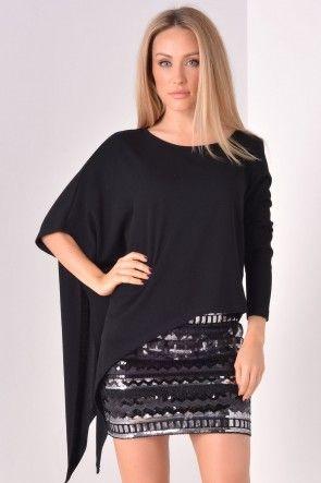 Gyra Assymetrical Top in Black
