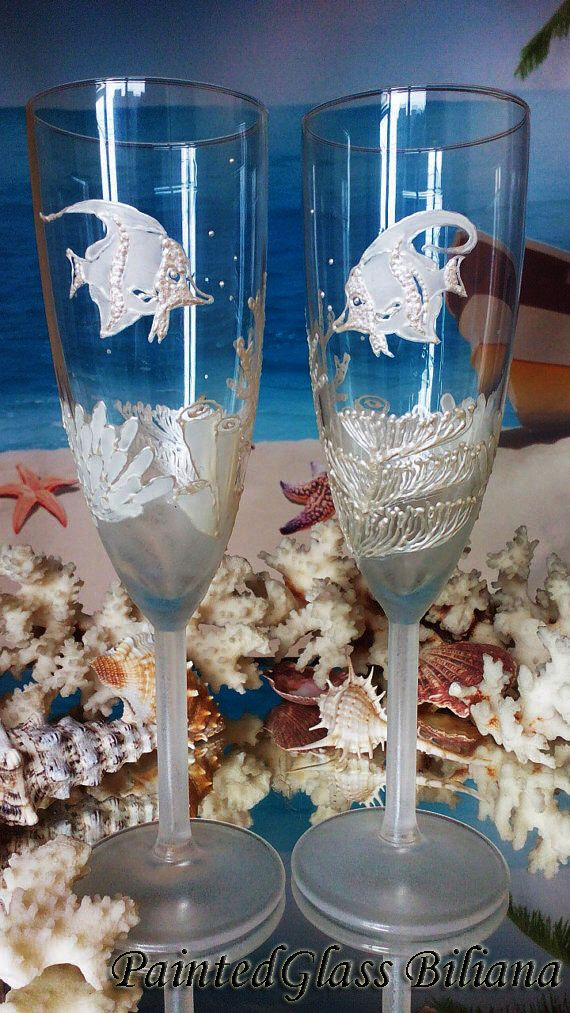 Coral reef Wedding Glasses Champagne Flutes Set of 2 Beach Sea wedding theme by PaintedGlassBiliana on Etsy https://www.etsy.com/listing/226550249/coral-reef-wedding-glasses-champagne