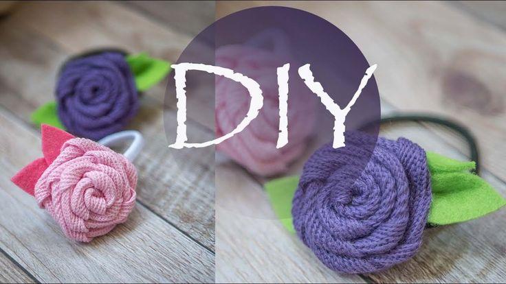 Роза из ленты , детская резинка для волос канзаши DIY Tsvoric