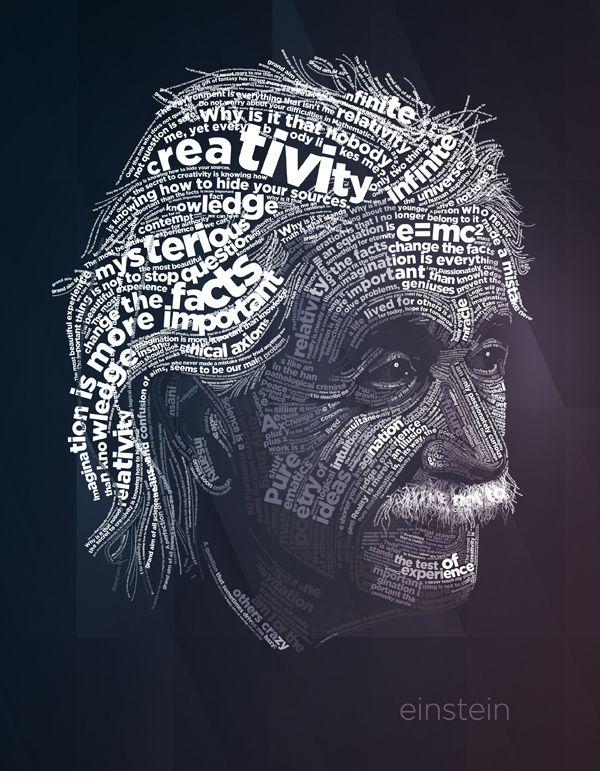 Albert Einstein typography poster.