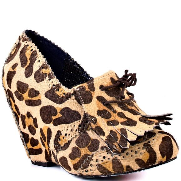 """Irregular Choice Leopard Wedge Booties """"I'm From The Future"""" leopard wedge booties by Irregular Choice. UK size 40. Runs small - can fit US 8.5-9. These can take jeans and a tee to the next level or pair perfectly with a cute dress! Irregular Choice Shoes Ankle Boots & Booties"""