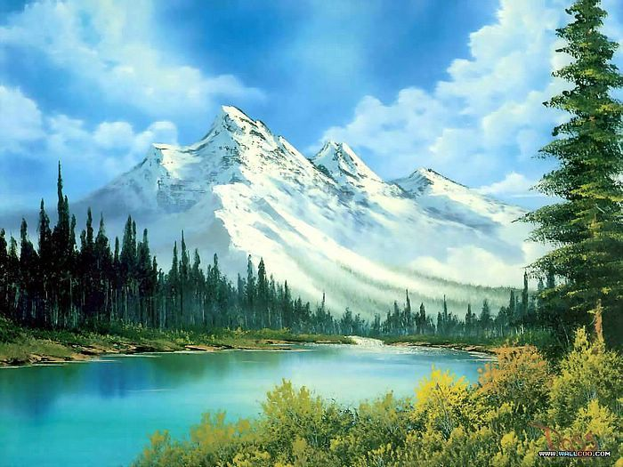 Peaceful Landscape Paintings by Bob Ross  - Bob Ross Paintings : Mountain Waterfull  22
